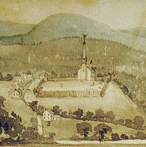 Artist depiction of Lower Fort by Rufus Grider, 1888.